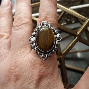 New Tiger Eye Silver Ring. Size 9